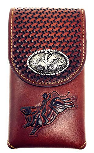 Western Cowboy Tooled Basketweave Leather Rodeo Concho Belt Loop Cellphone Holster Case in 2 Colors (Brown) ()