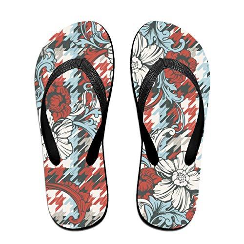 SummerTllo Houndstooth Mens Womens Sandals Flip Flops Thong Sandals Black