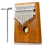 Kalimba Thumb Piano 17 Key,Portable Finger Piano/Mbira/Sanza Kit for Kids and Adults, Solid Solid KOA With Key Locking System,Tune Hammer,Study Instruction,Cloth Bag,Study Guide Sticke