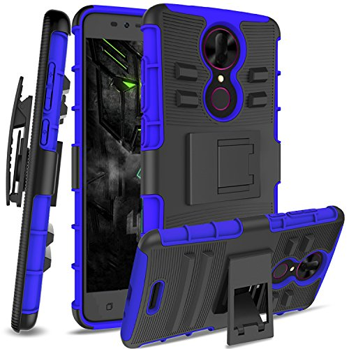 Coolpad Revvl Plus Case,Revvl Plus(T-Mobile)[Not Fit Alcatel Revvl] with HD Screen Protector,Anoke Rugged Shockproof [Belt Clip Holster] with Heavy Duty Protective Phone Cases for Revvl Plus HT Navy