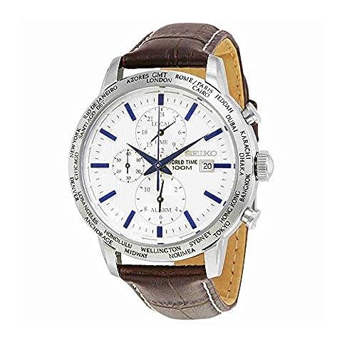 Seiko SPL051P1 Chronograph White Dial Brown Leather Band Alarm Men's Watch - Chronograph White Dial
