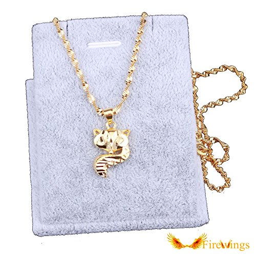 Firewings 24K Yellow Gold Filled Pated Necklace Fox Pendant Chain New Fashion Jewelry (Filled Jewelry Gold Pendant Fox)