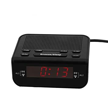 Eboxer LED Reloj Despertador Radio,Radio Despertador Digital Pantalla LED DE 0.6 Pulgadas Double Despertador