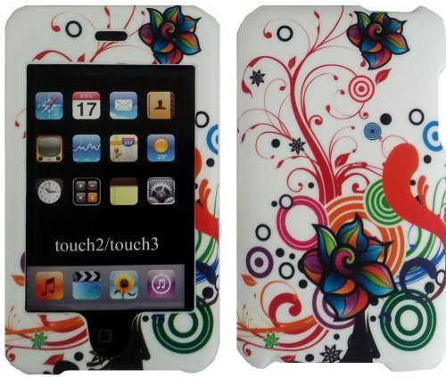 - White Autumn Flower Design Crystal Hard Skin Case Cover for Apple Ipod Touch iTouch 2nd and 3rd Generation Gen 2g 3g 2 3 8gb 16gb 32gb 64gb