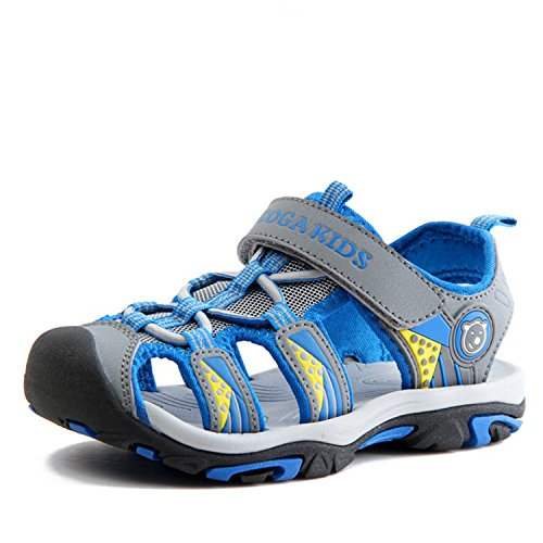 SAGUARO Boys Girls Kids Outdoor Sport Closed-Toe Breathable Mesh Water Athletic Sandals Shoes Grey 33
