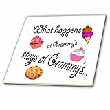 3dRose ct_113686_3 What Happens at Grammy's Stays at Grammy's-Ceramic Tile, 8-Inch