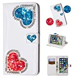 Yobby iPhone 7 Wallet Case,iPhone 8 Diamond Purse Case 3D Bling Floating Glitter Cute Heart White PU Leather Flip Cover with Card Holder Stand Magnetic Protective Shell-Blue