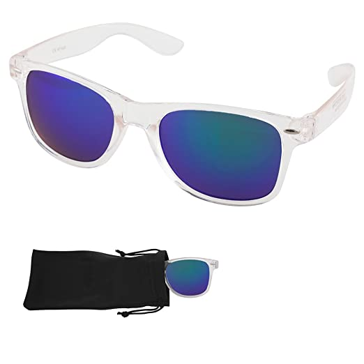 Amazon.com: Wayfarer Sunglasses - Green/Blue Mirrored Lenses with ...
