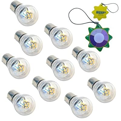 HQRP 10-Pack BA15s Bayonet Base 16 LEDs SMD 3014 LED Omni Bulb Clear Cover Warm White for #1141 #1156 Lance Travel Trailer Interior Light Replacement + UV Meter