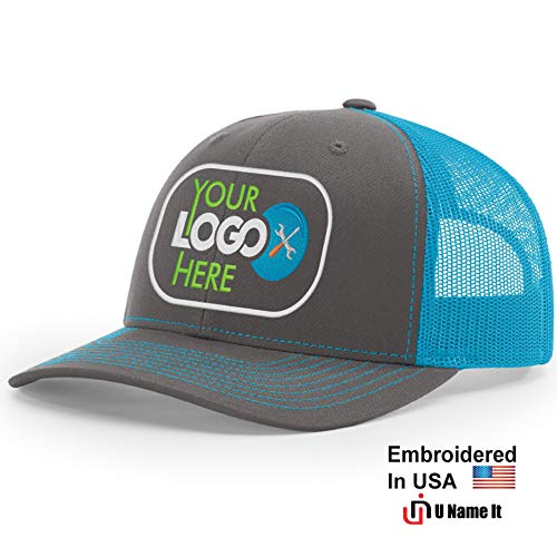 - Custom Richardson 112 Hat with Your Logo Embroidered Trucker Mesh Snapback Cap (Adjustable Snapback Split Colorway, Charcoal/Neon Blue)