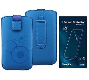 Elegante funda de diseño de + Protector de pantalla para LG Optimus L7 P700 PU-cuero azul cinturón + pull-up y banda de velcro + Protector de pantalla