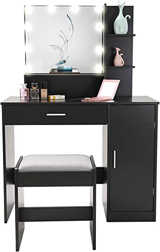 Vanity Set with 10 Light Bulbs, Makeup Table Vanity Dressing Table, 1 Large Drawer, 1 Storage Cabinet,1 Cushioned Stool for Bedroom, Bathroom,Black
