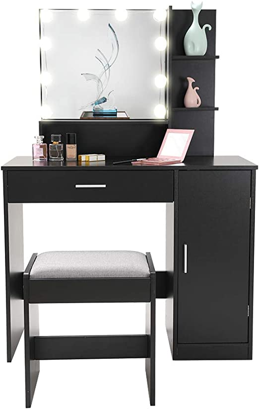 Vanity Set with 10 Light Bulbs, Makeup Table Vanity Dressing Table, 1 Large  Drawer, 1 Storage Cabinet,1 Cushioned Stool for Bedroom, Bathroom, Black ...