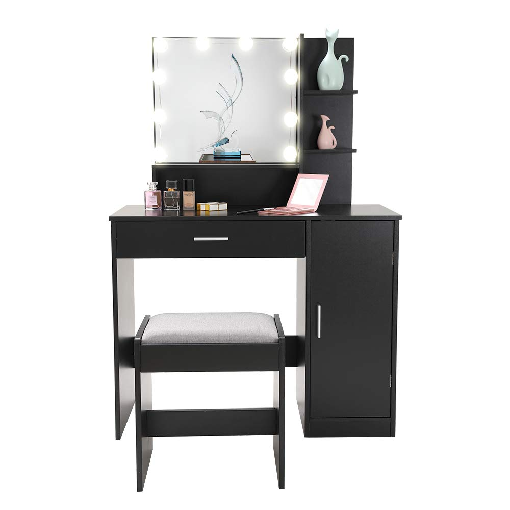 Vanity Set with 10 Light Bulbs, Makeup Table Vanity Dressing Table, 1 Large Drawer, 1 Storage Cabinet,1 Cushioned Stool for Bedroom, Bathroom, Black by usikey