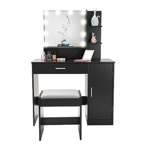 Black 1 Cushioned Stool for Bedroom Bathroom Vanity Table ...