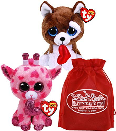 Ty Beanie Boos Valentine's 2019 Sweetums (Pink Giraffe) & Smootches (Brown Dog) Gift Set Bundle with Bonus Matty's Toy Stop Storage Bag - 2 Pack