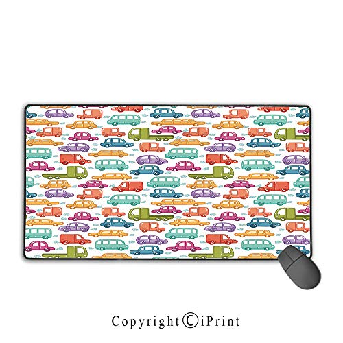 (Stitched Edge Mouse pad,Cars,Doodle Style Cars with Vibrant Colors Various Types of Vehicles Truck Bus Limousine,Multicolor,Premium Textured Fabric, Non-Slip Rubber Base,15.8