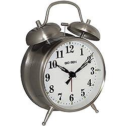 1 - Big Ben Twin Bell Alarm Clock, Ã'Â¥ Metal nickel finish case Ã'Â¥ Loud bell alarm Ã'Â¥ Light on demand Ã'Â¥ Glass lens, 70010 by Westclox