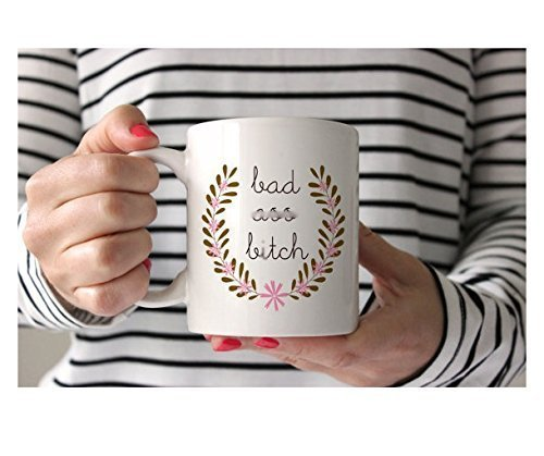 Coffee Mug for a Bad Ass Bitch. Funny Coffee Mug with Wreath and Quote for Boss Lady. As Seen in - Cosmopolitan Cat