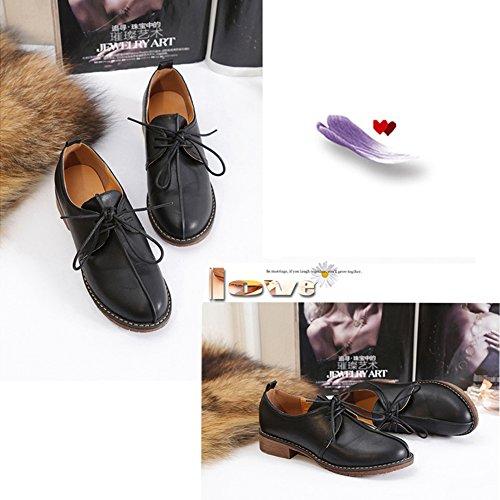 Shoes Oxfords Casual Dress BERTERI up Heel Vintage Black Flat Low Lace Women's Match Faw1qa8