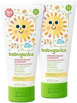 2-Pack Babyganics SPF 50 6oz Baby Sunscreen Lotion Tube