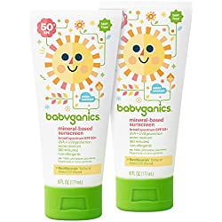 Babyganics Mineral-Based Baby Sunscreen Lotion, SPF 50, 6oz Tube (Pack of 2)