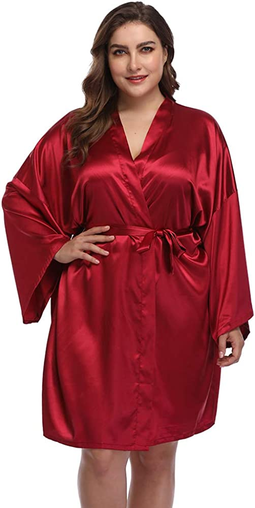 Women's Plus Robes Solid...