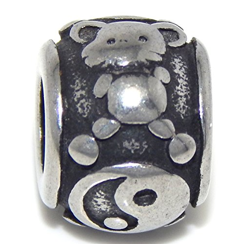 (Stainless Steel Chinese Rat Zodiac Sign Spacer Charm Bead for European Snake Chain Bracelets)