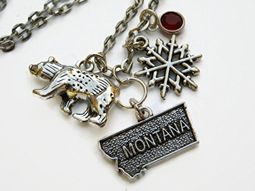 Personalized Montana Necklace, Handmade Birthstone Jewelry, US State Map Necklace, Geography Necklace