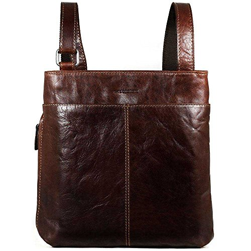 Jack Georges Voyager Small Zippered Crossbody Bag,Leather Messenger Bag in Brown by Jack Georges
