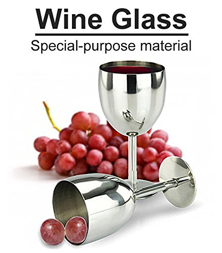 Sino Banyan Wine Glass Stainless Steel,Steadily,Anti-Rust,2 Pc