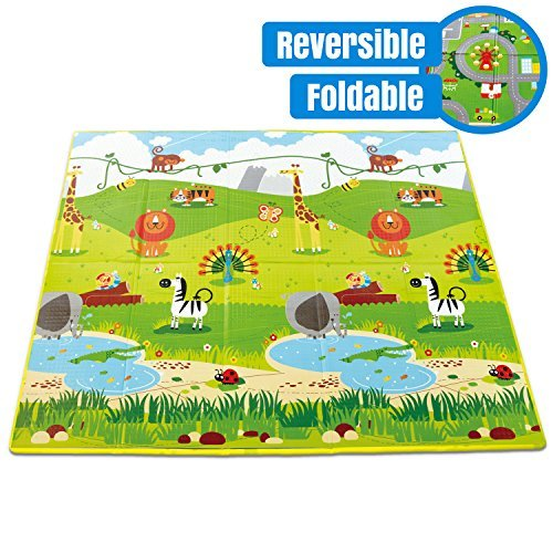 Hape Foldable Play Mat - Large Tummy Time Folding Reversible Baby Mats for Playing or Crawling, Non Toxic Foam Playmat for Infants or Toddlers w/ Case