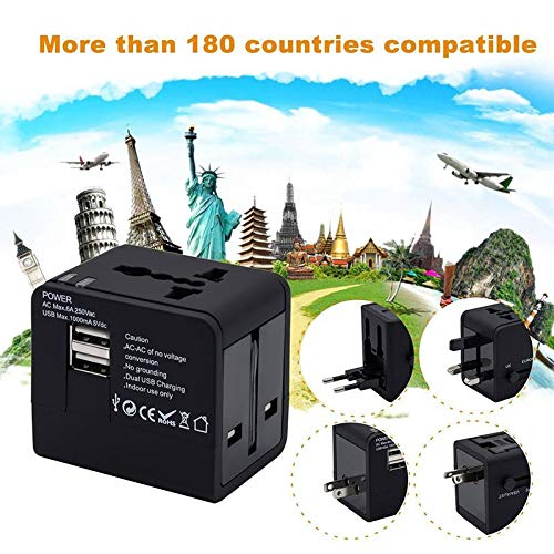 Goglor Worldwide Travel Adapter, Universal Power Adapter,International Travel Adapter 2 USB Ports Applicable in Over 150…