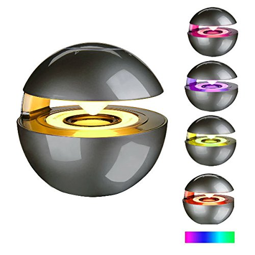 Hangang Bluetoothスピーカー ハンズフリースピーカーフォン LEDライト内蔵マイク 3.5mmラインイン ポータブルミニワイヤレススピーカー スマートフォン タブレット コンピューター ノートパソコン 携帯電話用 ブラック CS11096  ブラックグレー B077TRZ72Y