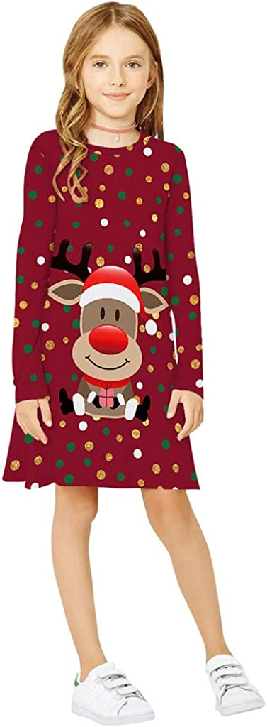 XINAINI Babykleider Kopfband//M/äDchen Baumwolle Langarm Weihnachtskleid 3D Elk Drucken Bekleidung Elegant Prinzessin Kleid Herbst Winter T-Shirt Geburtstag Party Mini Kleid