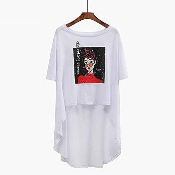 O&YQ Camiseta de Algodón de Bambú Mujer Suelta Falda Larga Irregular Irregular Manga Corta Mujer, Blanco, s: Amazon.es: Deportes y aire libre