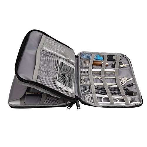 PRITEK Waterproof Double Layer Travel Gear Organizer with Zipper Mesh Pockets and Elastic Loops for Cables, U-Disk, Pens, Phones, Gadgets