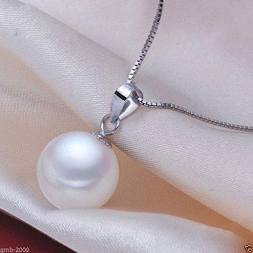 FidgetKute Rare 14mm Genuine Round White South Sea Shell Pearl 925S Pendant Necklace ()