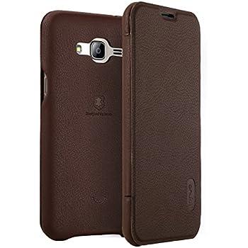 Samsung Galaxy J3 (2016) Leather Flip Case, SM-J320P Slim Folio Phone Cover w/ Card Slot (Coffee)