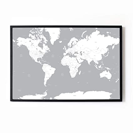 Map Of Uk Black And White.Grey White A1 Map Of The World Travel Poster Wall Art