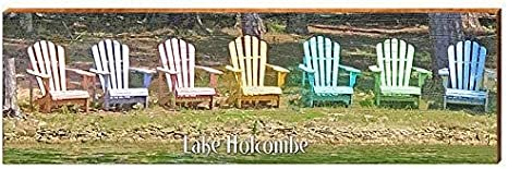 Amazon Com Lake Holcombe Colorful Adirondack Chairs Home Decor Art Print On Real Wood 9 5 X30 Home Kitchen