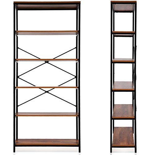 rateim 5-Shelf Wood Rustic Open Bookcase, Brown Tall Industrial Style Office Bookcase Shelf Organizer Furniture, Vintage Free Standing Storage Shelf Units Display Rack for Home (US STOCK) For Sale