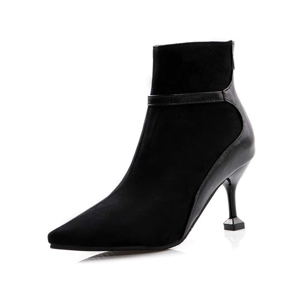 - FEFEFEF Herbst Und Winter Damenmode Stiefel Stiefel Farblich Passenden Stiletto High Heels Mode Stiefel,Schwarz,41  Wir nehmen Kunden als unseren Gott