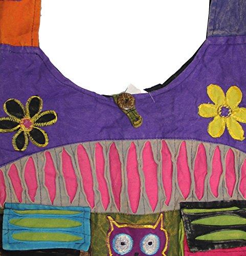 KayJayStyles Sling Pocket body Hippie Owl Flower Bag Owl Hobo Cross Nepal U1xFqUp