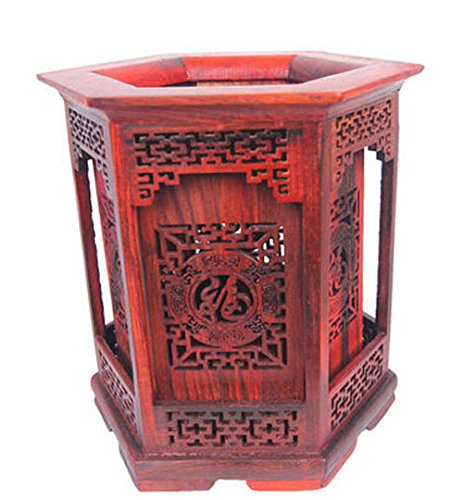 High-grade Siam Rosewood Chinese Writing Brush Pot Pen & Pencil Container/holder/case with Box Home & Office Decor by Charming China Calligraphy and Painting Tools