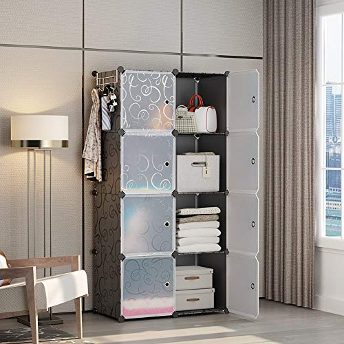GEORGE&DANIS Portable Wardrobe Plastic Modular Closet Organization Customizable Cube Storage Organizer Bedroom Armoire Dresser, Black, 8 Cubes