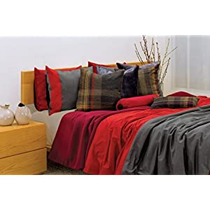 Image of 2 threads Duvet Cover in Red and charcoal