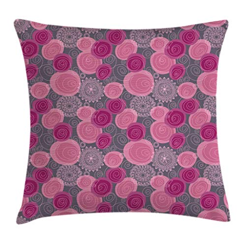 Ambesonne Pink and Grey Throw Pillow Cushion Cover, Doodle Style Lace Swirled Circle Flower Pattern Ornamental Flourish, Decorative Square Accent Pillow Case, 18