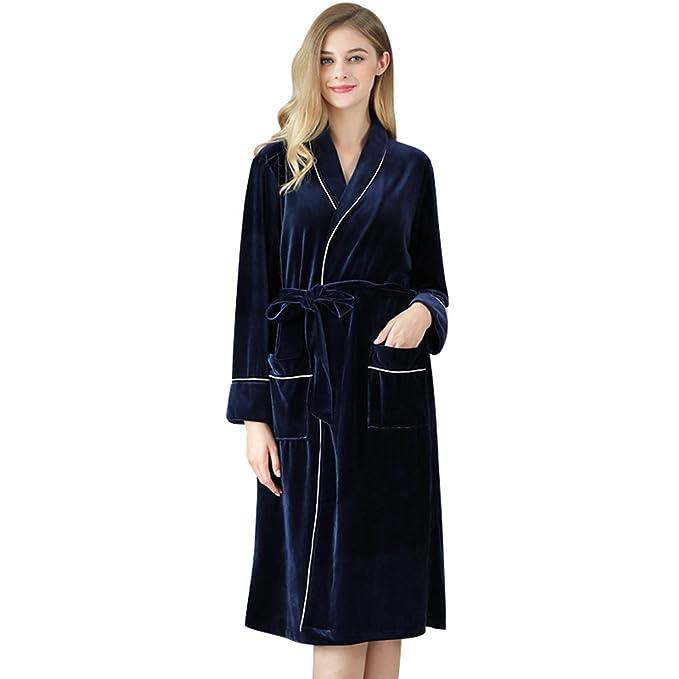 YiLianDa Pijamas para Mujer Larga Albonoz Batas Mujer de Aspecto Brillante: Amazon.es: Ropa y accesorios
