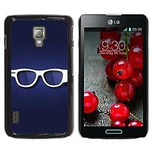 Qstar Arte & diseño plástico duro Fundas Cover Cubre Hard Case Cover para LG Optimus L7 II P710 / L7X P714 ( Glasses Hipster Eye White Blue Symbol)